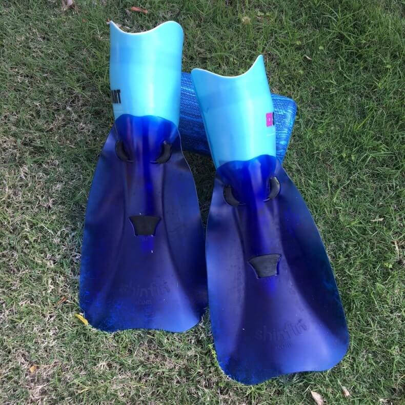 shinfin™ fins attached to bilateral below knee amputee prostheses.