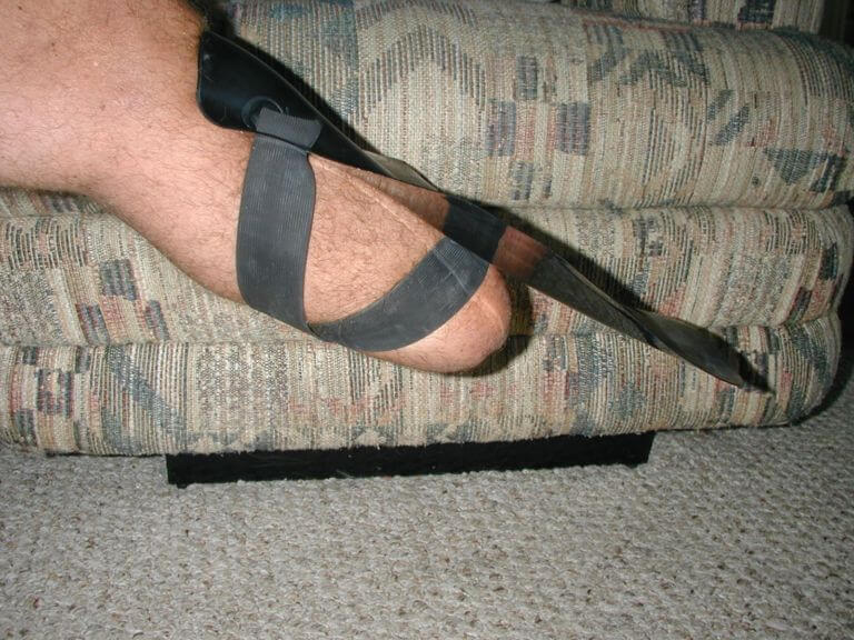 Transtibial amputee, straight knee with shinfin™ fin, side view. Used for pool swimming, snorkeling and scuba diving.
